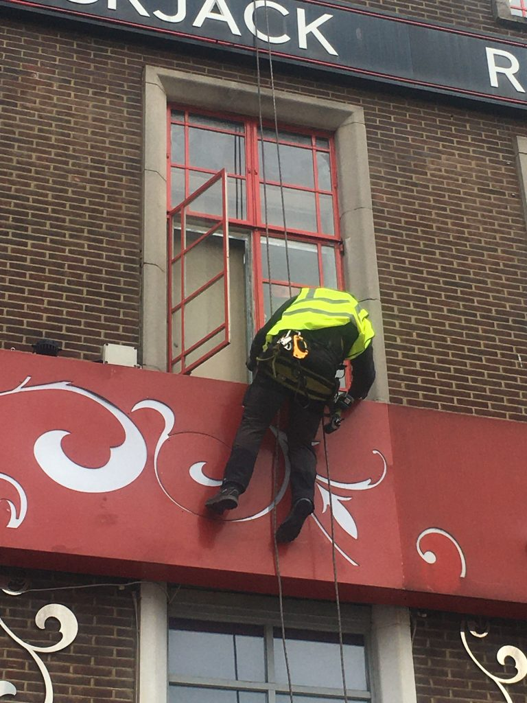 Rope Access Window Repair In Action By The Comprehensive Group Rope Access Birmingham