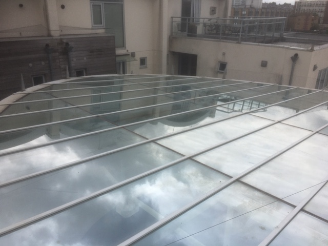 glass atrium in Bristol just been cleaned